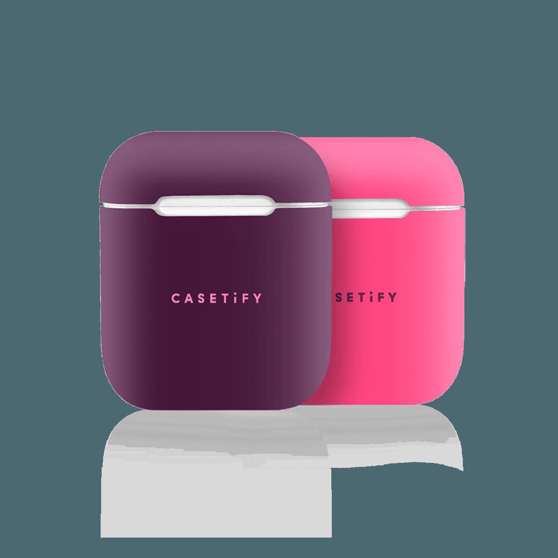 iPhone 7 Plus/7/6 Plus/6/5/5s/5c Case - Neon AirPods Case Skin (2 sets) Purple/Pink